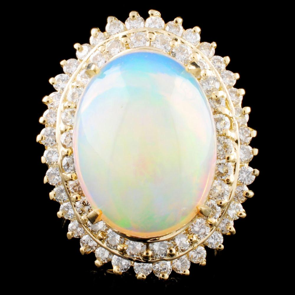 14K Gold 7.54ct Opal & 1.80ctw Diamond Ring