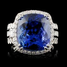 18K Gold 12.70ct Tanzanite & 1.23ctw Diamond Ring
