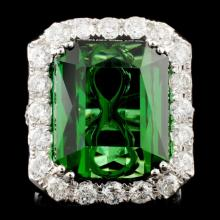 18K Gold 23.82ct Tourmaline & 3.43ctw Diamond Ring