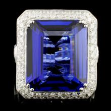 18K Gold 21.50ct Tanzanite & 3.93ctw Diamond Ring