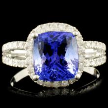18K Gold 3.38ct Tanzanite & 0.44ctw Diamond Ring