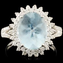 18K Gold 2.83ct Aquamarine & 0.58ctw Diamond Ring