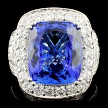 18K Gold 12.50ct Tanzanite & 2.28ctw Diamond Ring