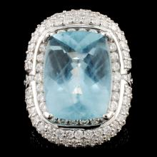 18K Gold 10.82ct Aquamarine & 3.76ctw Diamond Ring