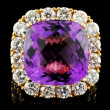 18K Gold 12.00ct Amethyst & 4.89ctw Diamond Ring