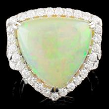 18K Gold 9.32ct Opal & 1.25ctw Diamond Ring