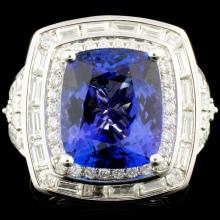 18K Gold 7.74ct Tanzanite & 1.54ctw Diamond Ring