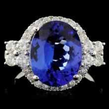 18K Gold 4.48ct Tanzanite & 0.91ct Diamond Ring