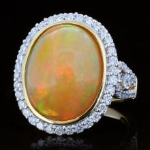 18K Gold 7.87ct Opal & 1.02ct Diamond Ring