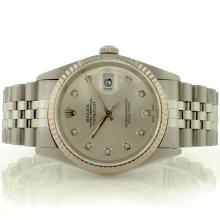 Rolex 18K White Gold & SS 36MM DateJust Silver Dia