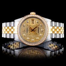 Rolex YG/SS DateJust 1.50CT Diamond Wristwatch