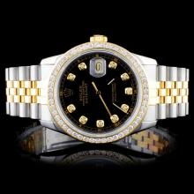 Rolex YG/SS DateJust Men's 1.00ct Diamond Watch