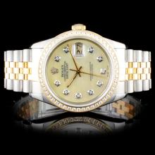 Rolex TwoTone DateJust 1.00ct Diamond Wristwatch