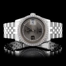 Rolex SS DateJust 1.50ct Diamond Men's Watch