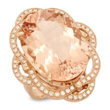 14K Gold 21.00ct Morganite & 0.75ct Diamond Ring