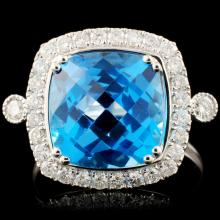 14K Gold 5.60ct Topaz & 0.48ctw Diamond Ring