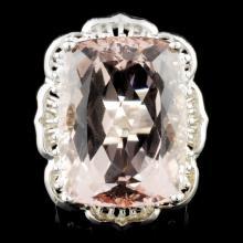 14K Gold 21.01ct Morganite & 1.05ctw Diamond Ring