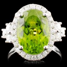 14K Gold 5.95ct Peridot & 0.88ctw Diamond Ring