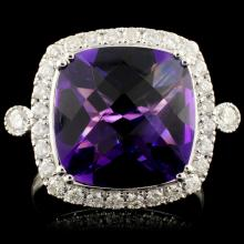 14K Gold 5.57ct Amethyst & 0.50ctw Diamond Ring