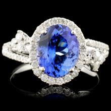 14K Gold 1.82ct Tanzanite & 0.48ctw Diamond Ring