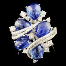 18K Gold 5.96ctw Sapphire & 0.59ctw Diamond Ring