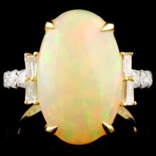 18K Gold 6.15ct Opal & 0.71ctw Diamond Ring