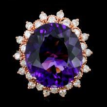 14K Gold 10.00ct Amethyst & 1.25ctw Diamond Ring