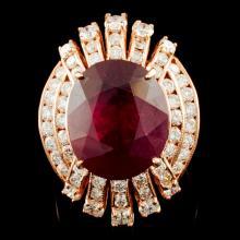 14K Gold 12.24ct Ruby & 2.02ctw Diamond Ring