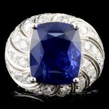 *GIA 18K Gold 10.60ct Sapphire & 2.87ctw Diam Ring