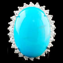 14K Gold 12.00ct Turquoise & 0.69ctw Diamond Ring