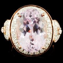 14K Gold 11.33ct Kunzite & 0.71ctw Diamond Ring