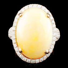 14K Gold 12.04ct Opal & 1.06ctw Diamond Ring