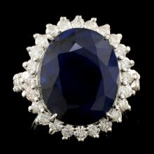 14K Gold 11.90ct Sapphire & 1.24ctw Diamond Ring