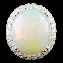 14K Gold 12.92ct Opal & 1.54ctw Diamond Ring