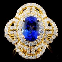 18K Y Gold 2.69ct Tanzanite & 1.72ct Diamond Ring
