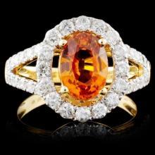 18K Yellow Gold 2.23ct Sapphire & 1.05ct Diamond R