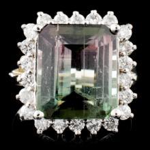 14K Gold 7.21ct Tourmaline & 0.85ctw Diamond Ring