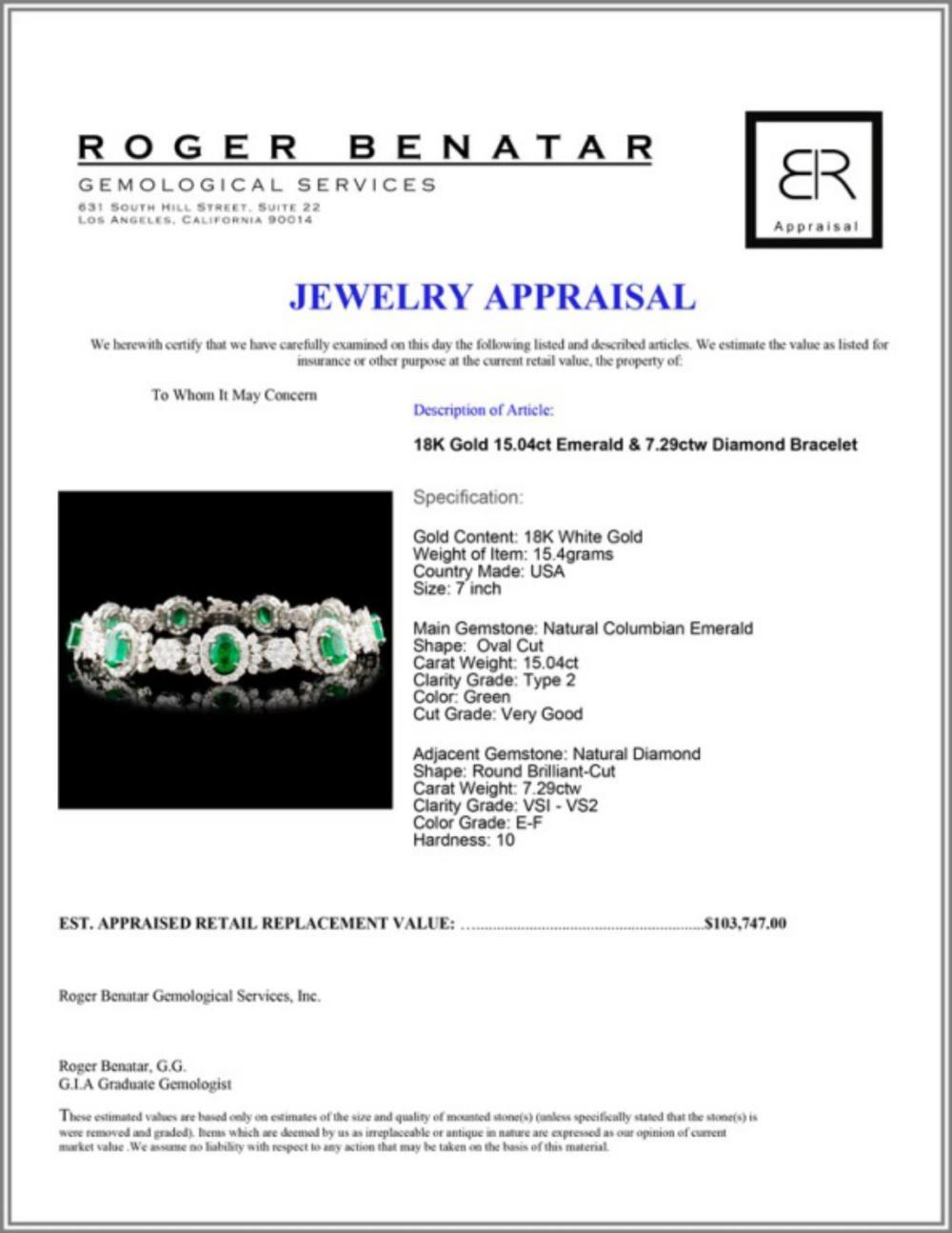 Lot 1: 18K Gold 15.04ct Emerald & 7.29ctw Diamond Bracele