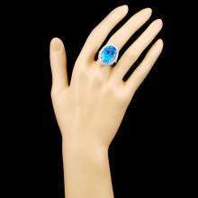 Lot 2: 18K Gold 14.85ct Topaz & 0.66ctw Diamond Ring