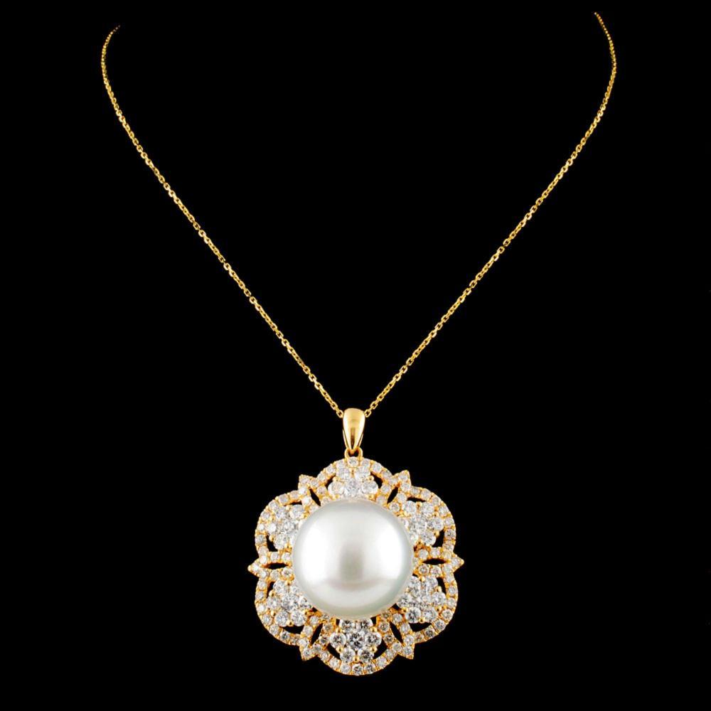 Lot 3: 18K Gold 14.00MM Pearl & 2.26ctw Diamond Pendant