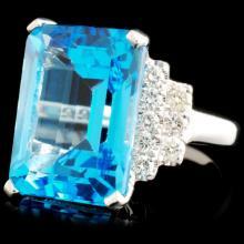 Lot 6: 18K Gold 13.17ct Topaz & 0.64ctw Diamond Ring