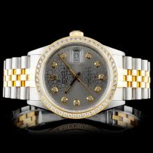 Lot 9: Rolex YG/SS DateJust Diamond 36MM Watch