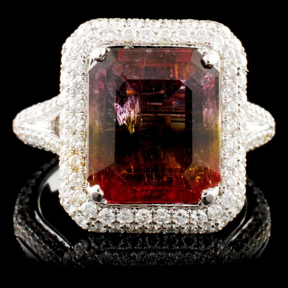 Lot 12: 18K Gold 4.50ct Tourmaline & 1.22ctw Diamond Ring