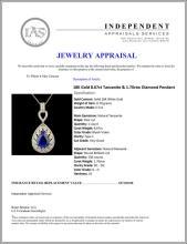 Lot 13: 18K Gold 8.67ct Tanzanite & 1.70ctw Diamond Pendan