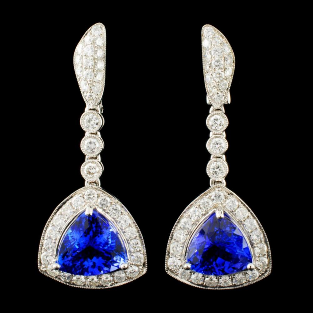 Lot 15: 18K Gold 8.01ct Tanzanite & 2.10ctw Diamond Earrin