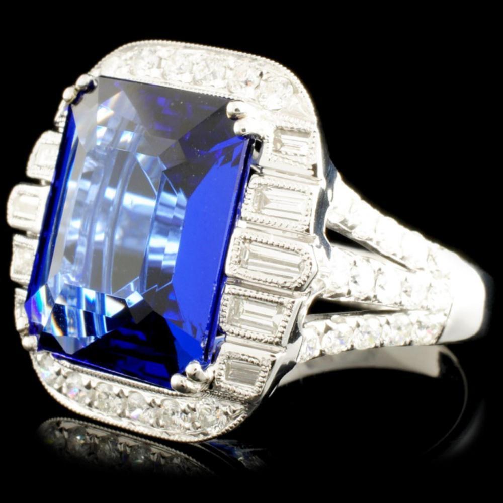 Lot 17: 18k Gold 11.23ct Tanzanite & 1.36ctw Diamond Ring