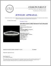 Lot 18: ^18k White Gold 12.00ct Diamond Tennis Bracelet