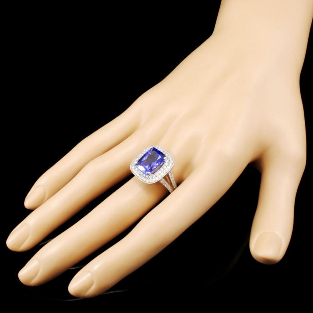 Lot 20: 18K Gold 5.48ct Tanzanite & 1.09ctw Diamond Ring
