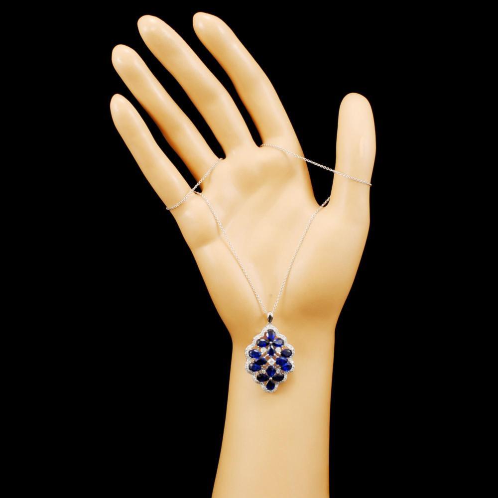 Lot 21: 18K Gold 7.10ct Kyanite & 0.86ctw Diamond Pendant