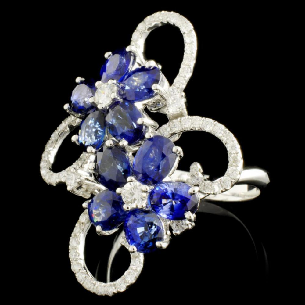 Lot 22: 18K Gold 4.90ctw Sapphire & 0.68ctw Diamond Ring
